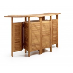 MEUBLE BAR TOUAREG TECK 2 RALLONGES PLIANT 98-180*70*106