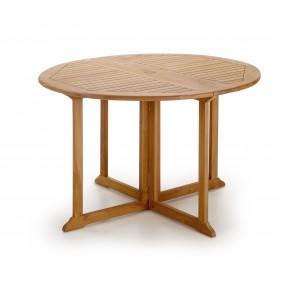 TABLE TECK TOUAREG RONDE 2 RALLONGES PLIANTES Ø120*76