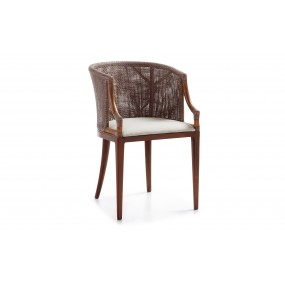 FAUTEUIL LUXOR CUIR APACHE TAPISSÉE 55*58*79