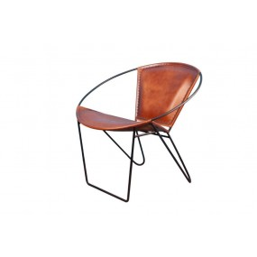 Fauteuil rond fer cuir marron Dong
