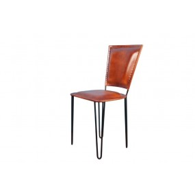 Chaise fer assise cuir marron Dong