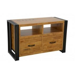 Meuble TV 2 tiroirs Wolof 90cm finition naturelle avec inscription