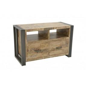 Meuble TV 2 tiroirs Wolof 90cm finition vieillie colorée et blanchie