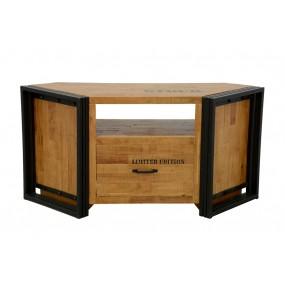 Meuble TV d'angle bois massif grand tiroir finition naturelle avec inscription