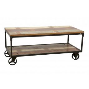 Table basse rectangle à roulette finition recyclée