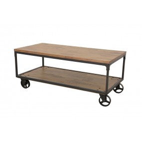 Table basse rectangle roues fer - finition naturelle vieillie