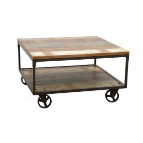 Table basse carrée sur roues finition recyclée