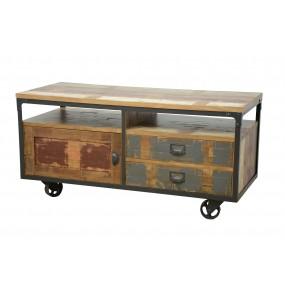 Meuble télé bois sur roues fer finition recyclée