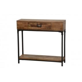 Meuble console bois et fer finition naturelle vieillie