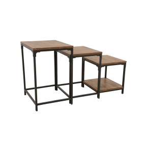 Set de 3 tables d'appoints gigogne plateau bois finition naturelle vieillie