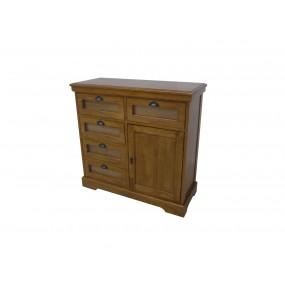 Commode grainetier 5 tiroirs vitrés 1 porte Karen - couleur personnalisable