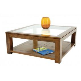 Table basse carrée vitrée double plateau Maya
