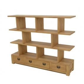 Meuble bas 3 tiroirs surmonté d'étagères