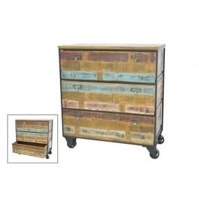 Meuble de rangement industriel 3 tiroirs sur roues en finition recyclée