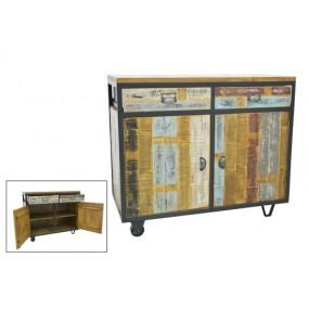 Buffet industriel petit espace 2 portes sur roues fer en finition recyclée