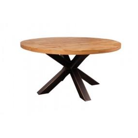 Grande table ronde industrielle pied mikado en fer et hévéa massif naturel