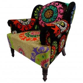 Fauteuil patchwork velours mandala ARI