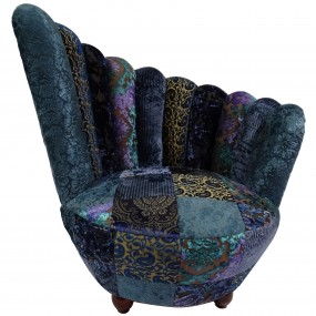 Fauteuil patchwork rond en velours bleu PAON
