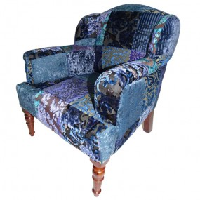 Fauteuil baby Bleu Maharadja velours 45x47x56cm
