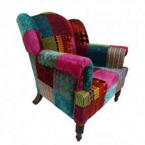 Fauteuil patchwork rose et bleu Hindi