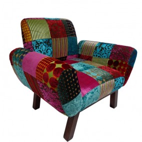 Fauteuil patchwork velours SULTAN
