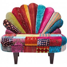Fauteuil banquette décoratif patchwork paon