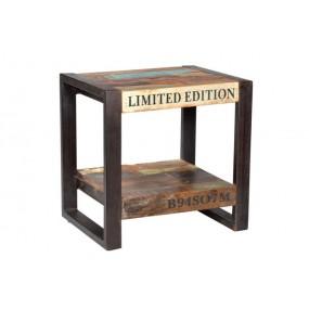 Table de chevet fer et bois avec inscriptions