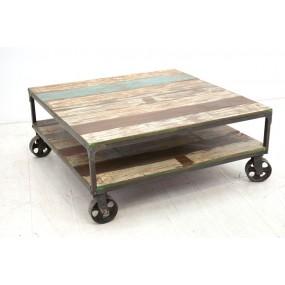 Table basse carrée sur roues Tamang
