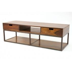 Meuble TV bas bois et métal