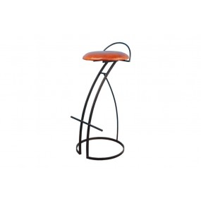 Tabouret de bar fer forgée assise cuir marron Dong 2 (hauteur 90 cm)