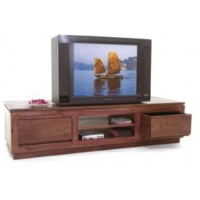 Meuble TV bois 2 tiroirs 2 niches Hindi