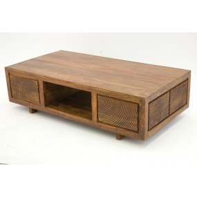 Table basse 2 tiroirs 1 niche traversante Hindi