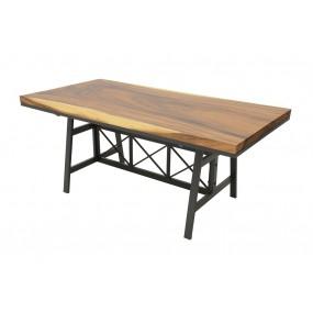 Table repas plateau Acacia en forme libre de 5 cm d'épaisseur (9 personnes)