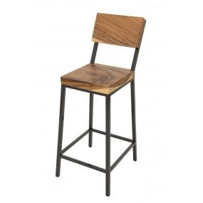 Chaise haute fer assise acacia 5 cm