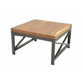Table basse carrée plateau bois d'acacia épais et pieds métal