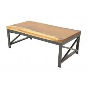 Table basse rectangulaire plateau bois d'Acacia épais et pieds métal