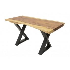 Table repas - plateau bois massif forme libre & empiétement fer forgé modèle croix