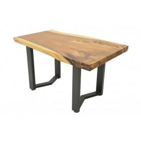 Table repas - plateau bois massif forme libre & empiétement fer forgé modèle flèche