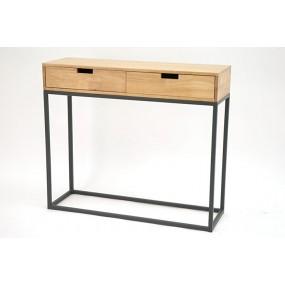 Console contemporaine 2 tiroirs bois sur structure géométrique en métal