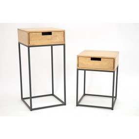 Set de 2 consoles sellettes bois et fer avec tiroir Saxon