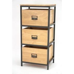 Colonne fer tiroirs bois Saxon