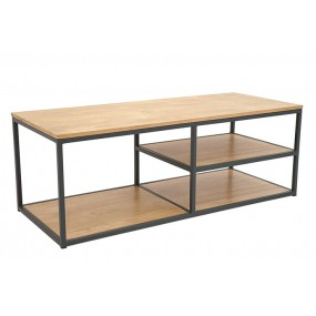 Meuble TV bois et fer structure minimaliste Saxon