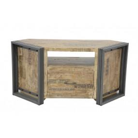 Meuble TV d'angle bois massif grand tiroir finition vieillie colorée et blanchie