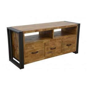Meuble TV bois rectangle Wolof 120cm finition naturelle avec inscription