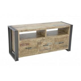 Meuble TV 3 tiroirs finition vieillie colorée et blanchie