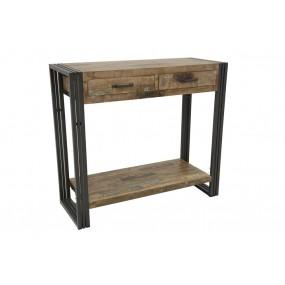 Console bois métal finition vieillie colorée et blanchie