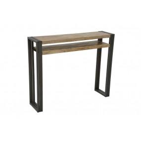 Console 1 étagère bois et fer finition vieillie colorée et blanchie