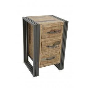 Table de chevet haute 3 tiroirs finition vieillie colorée et blanchie