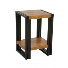 Petite table angle de canapé design avec étagère bois et fer finition naturelle avec inscription