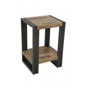 Petite table angle de canapé design avec étagère bois et fer finition vieillie colorée et blanchie